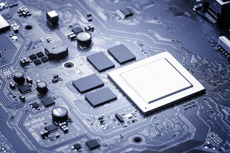 microcircuit: Electronic circuit board close up. Stock Photo