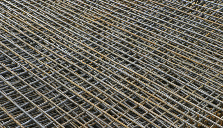 grid: Pile of reinforcement grids on an construction site