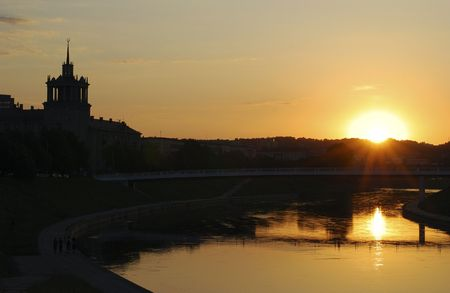 vilnius: Sunset in Vilnius downtown, the capital of Lithuania. Stock Photo