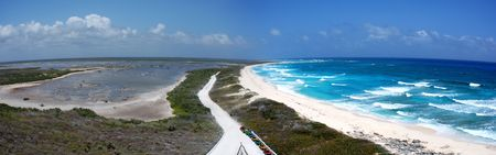 cozumel: The panoramic view from the top of the lighthouse to Punta Sur ecological park on Cozumel island, Mexico.