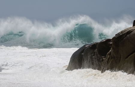 lucas: Furious waves on Lovers beach in Cabo San Lucas, Mexico.