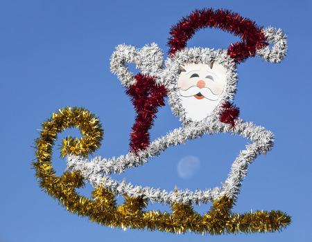 bahamas celebration: Christmas decoration with the Moon in the middle on Nassau city street  The Bahamas   Stock Photo