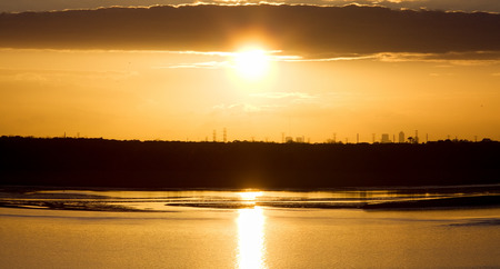 jacksonville: The panoramic view of a sunset over Jacksonville city  Florida