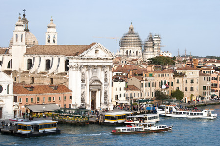 back and forth: Water buses floating back and forth, the most popular public transportation in Venice  Italy