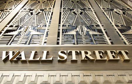 exterior wall: The name of famous street as an exterior of a building in Manhattan. Editorial