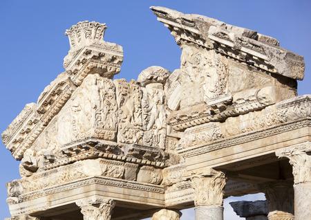 monumental: The exterior of Aphrodisias city Monumental Gateway (Turkey). Stock Photo