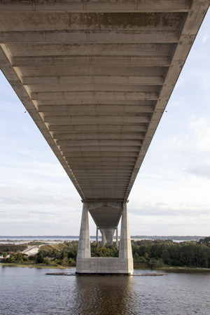 jacksonville: The view from under the bridge in Jacksonville city (Florida). Stock Photo