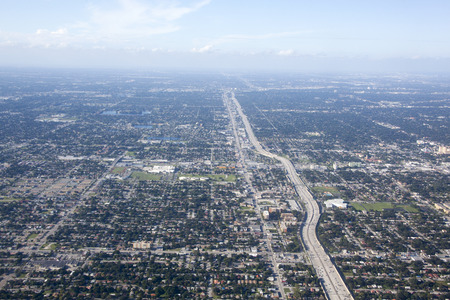 suburbs: The aerial view of a highway in Charlotte city suburbs (North Carolina). Stock Photo