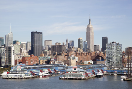 characteristic: The view of skyscrapers, the characteristic skyline of New York city.