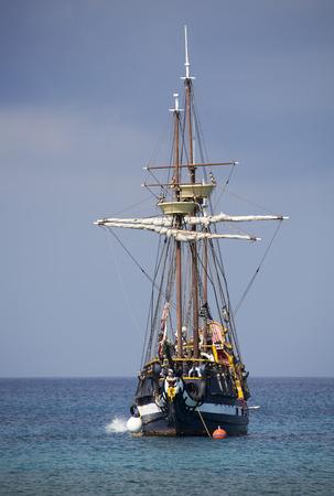 replica: The replica of a pirate ship, the tourist attraction in Grand Cayman (Cayman Islands).