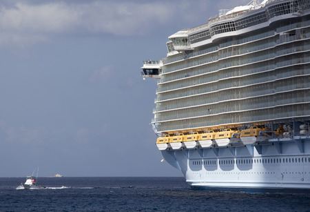 biggest: One of the biggest cruise ships in the world docked in Cozumel island (Mexico).