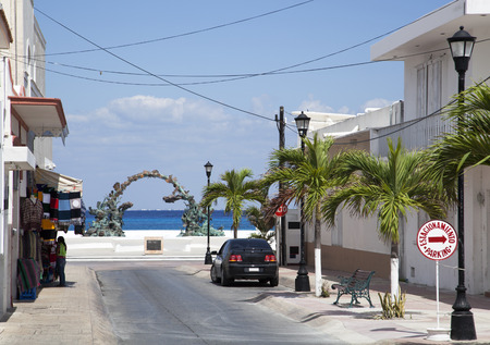 cozumel: The empty streets of San Miguel resort town on Cozumel island (Mexico).