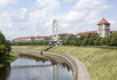kaunas: Nemunas River passing through the downtown of Kaunas city (Lithuania).