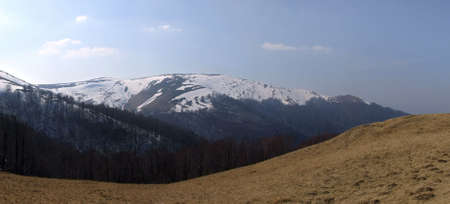 Panorama of Carpathians in early spring