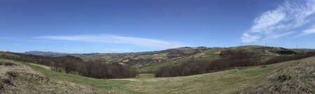 Wide panoramic picture of the countryside in spring Stock Photo
