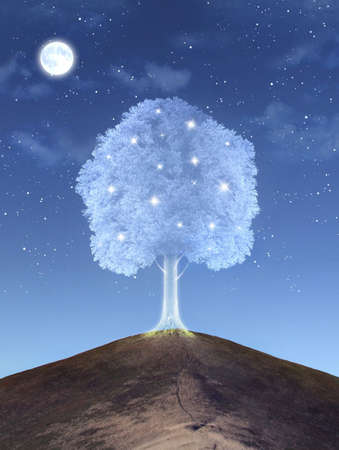 Shining magical tree on the hill Stock Photo