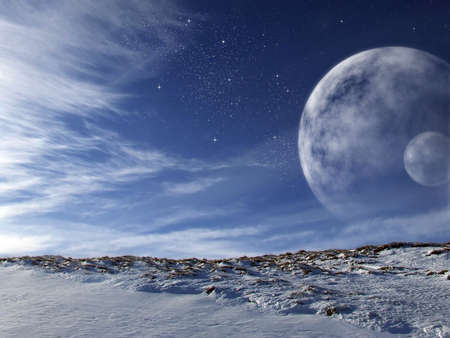 Extraterrestrial scenery of an alien world with enormous moons on the sky photo