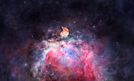 nebulous: Large and bright Orion nebula glowing in deep space