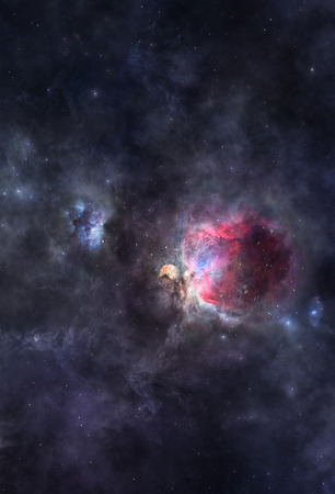 orion: Interstellar clouds of gas glowing deep in space Stock Photo