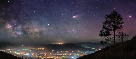 Starry night sky panorama Stock Photo