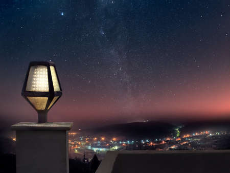 city in the night: Panoramic view of mountain town at night Stock Photo