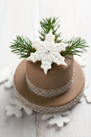 fondant: Torta di Natale decorato con fondente e Natale cookie