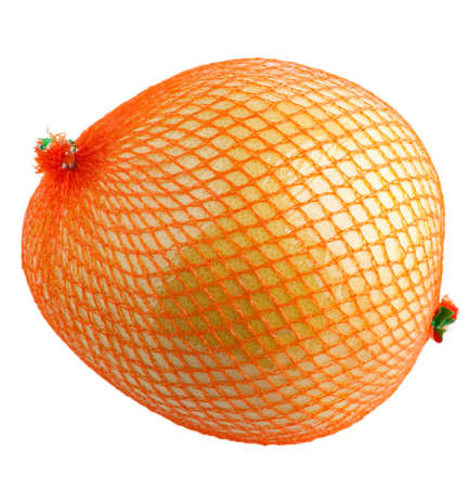 Whole and wrapped pomelo fruit wrapped in a net and plastic foil isolated on white Stock Photo - 4360466
