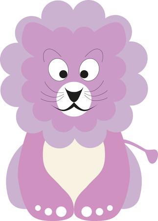 lion baby: Illustrazione vettoriale di un bambino leone di colore rosa Vettoriali