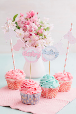 baby shower party: Butter cream cupcakes for a baby shower