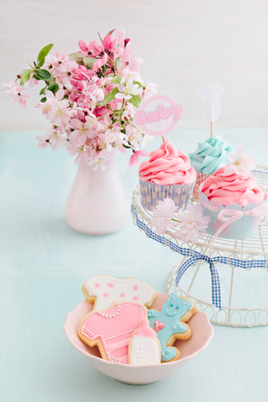pink flower: Butter cream cupcakes and cookies for a baby shower Stock Photo