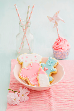 baby shower party: Butter cream cupcake and cookies for a baby shower Stock Photo