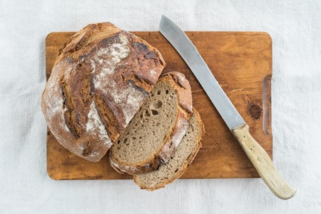 bread knife: Rustic sourdough bread and knife