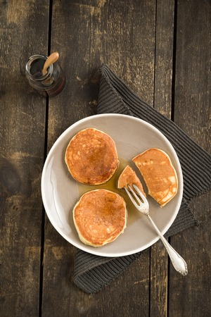 maple syrup: Pancakes with blueberries and maple syrup