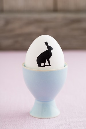 egg cup: Easter egg with bunny silhouette in egg cup Stock Photo