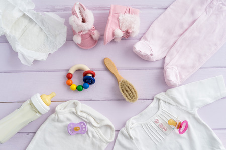 nursing baby: Collection of items for babies shot from above. Ideal website hero or header image