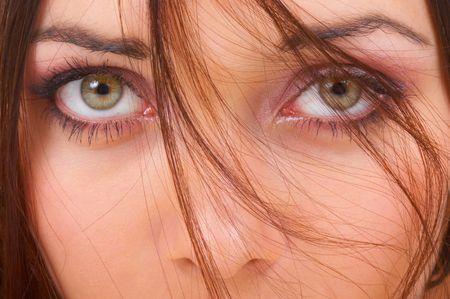 ojos verdes: La hermosa ni�a  Foto de archivo