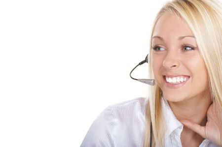 The girl the operator in headphones with a microphone Stock Photo - 1987482