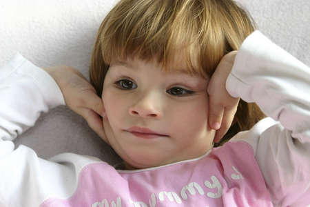 little cute child, looking worried and concerned Stock Photo - 720796