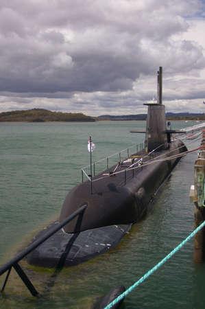 Australian Navy submarine, HMAS Sheehan, docked at Beauty Point, Tasmania Stock Photo - 756876