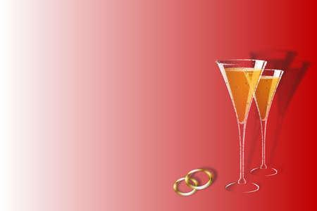 wedding bands: Hermosa boda plantilla con mucho espacio para escribir, copas de champa�a, boda bandas m�s rojo perdi� a blanco.
