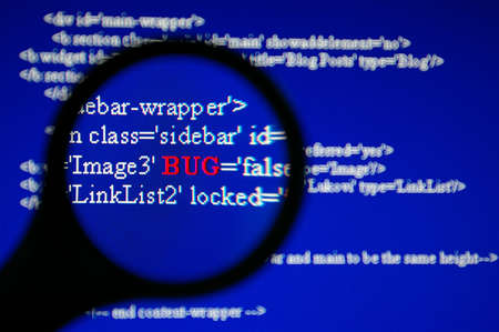 Bug tracking with magnifier on LCD screen. Stock Photo - 819817