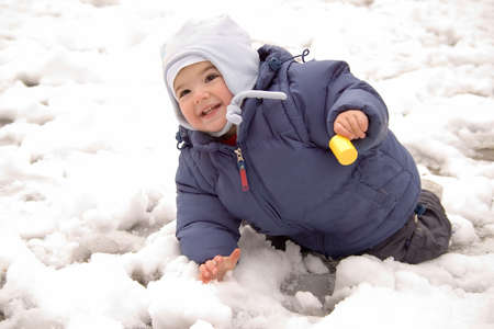 Toddler in Snow photo