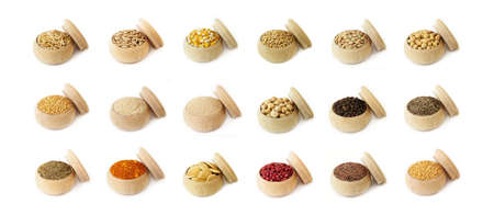 Various spices, grains, beans and herbs Stock Photo