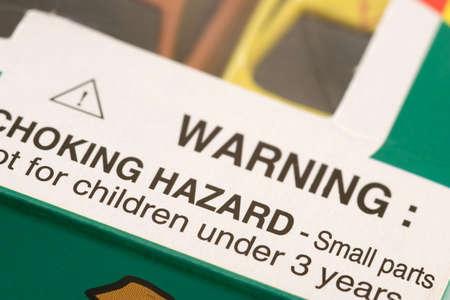 perilous: Warning: Choking Hazard Stock Photo