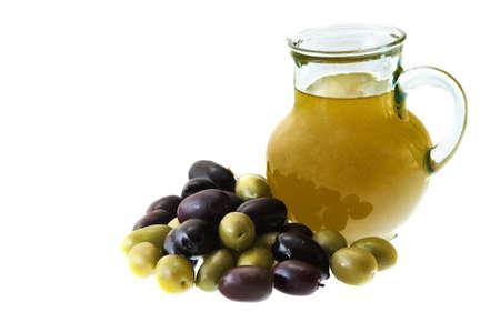Olijfolie en olijven Stockfoto