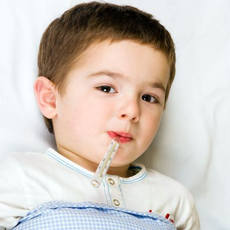 Child with flu and fever