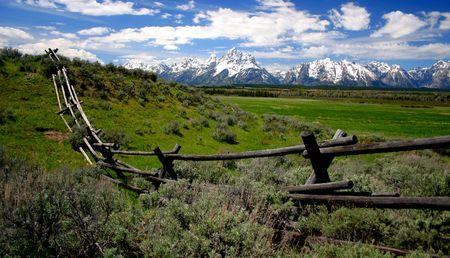 fenceline: Teton Range and fence, Wyoming