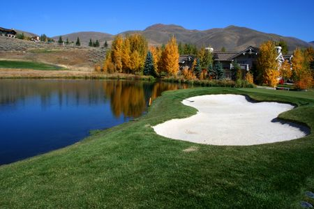 Autumn colors at Idaho resort golf course Stock Photo