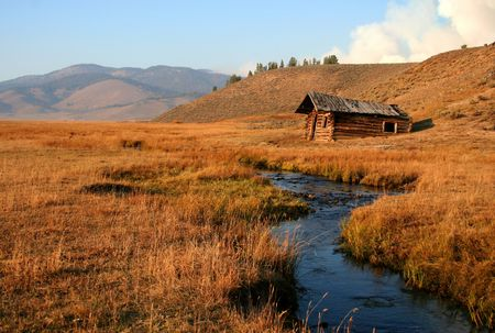 Old cabin on Stanley creek, Stanley Idaho Stock Photo