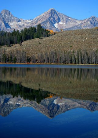 redfish: Sawtooth Mountains relected in Little Redfish Lake, Stanley Idaho Stock Photo